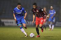 Blackburn Rovers' Dominic Samuel and Gillingham's Bradley Garmston<br /> <br /> Photographer Rachel Holborn/CameraSport<br /> <br /> The EFL Sky Bet League One - Gillingham v Blackburn Rovers - Tuesday 10th April 2018 - Priestfield Stadium - Gillingham<br /> <br /> World Copyright &copy; 2018 CameraSport. All rights reserved. 43 Linden Ave. Countesthorpe. Leicester. England. LE8 5PG - Tel: +44 (0) 116 277 4147 - admin@camerasport.com - www.camerasport.com