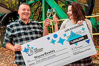 ictured L-R: £1million winner Wayne Rowles with daughter Laura<br />