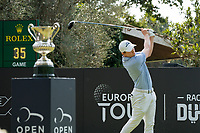 Matthew Fitzpatrick (ENG) in action on the 1st hole during the final round of the 76 Open D'Italia, Olgiata Golf Club, Rome, Rome, Italy. 13/10/19.<br /> Picture Stefano Di Maria / Golffile.ie<br /> <br /> All photo usage must carry mandatory copyright credit (© Golffile | Stefano Di Maria)