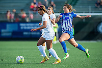 Allston, MA - Sunday, May 22, 2016: FC Kansas City midfielder Frances Silva (11) and Boston Breakers defender Brooke Elby (23) during a regular season National Women's Soccer League (NWSL) match at Jordan Field.