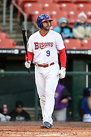 Buffalo Bisons outfielder Matt Tuiasosopo (9) at bat during a game against the Louisville Bats on April 29, 2014 at Coca-Cola Field in Buffalo, New  York.  Buffalo defeated Louisville 4-1.  (Mike Janes/Four Seam Images)