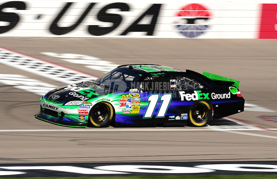 Mar. 5, 2011; Las Vegas, NV, USA; NASCAR Sprint Cup Series driver Denny Hamlin during practice for the Kobalt Tools 400 at Las Vegas Motor Speedway. Mandatory Credit: Mark J. Rebilas-