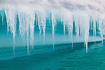 Icicles on edge of an iceberg, Antarctica