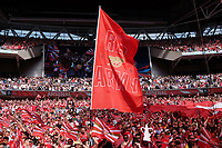 A red Army flag is flown during the FA Cup Final match between Arsenal v Chelsea, Wembley stadium, London on 27th May 2017