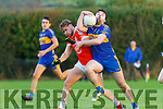 My Ball !!<br /> Cathal Kennelly St Senans makes every effort to hold onto the ball despite a strong challenge from Adam Barry Brosna during the North Kerry Division 1 League final played in Duagh on Saturday evening.
