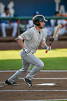 Vince Fernandez (8) of the Grand Junction Rockies follows through on his swing against the Ogden Raptors during the Pioneer League game at Lindquist Field on August 24, 2016 in Ogden, Utah. The Raptors defeated the Rockies 11-10. (Stephen Smith/Four Seam Images)