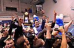 24 MAR 2012:  Head coach Dave Durgen is held aloft by University of California men's team as they  celebrate after winning the Division I Men's Swimming and Diving Championship held at the Weyerhaeuser King County Aquatic Center in Seattle, WA.  Durden was named  Swim Coach of the Meet. Rod Mar/ NCAA Photos