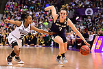 COLUMBUS, OH - APRIL 1: Marina Mabrey #3 of the Notre Dame Fighting Irish drives to the basket against Morgan William #2 of the Mississippi State Bulldogs during the championship game of the 2018 NCAA Division I Women's Basketball Final Four at Nationwide Arena in Columbus, Ohio. (Photo by Justin Tafoya/NCAA Photos via Getty Images)