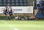 29th September 2017, Sixways Stadium, Worcester, England; Aviva Premiership Rugby, Worcester Warriors versus Saracens; Chris Wyles of Saracens touches down for a try