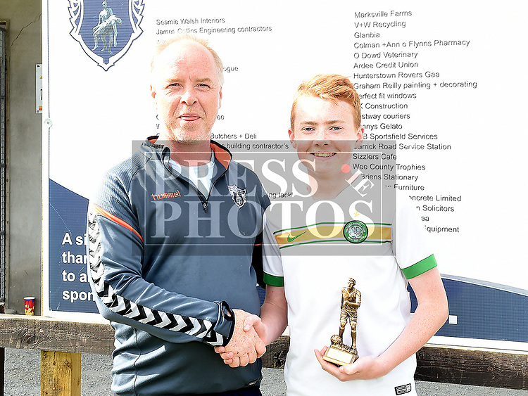 Ardee Celtic's U-13 player of the year Nathan Commins with U-13 manager Frank Dowdall. Photo:Colin Bell/pressphotos.ie