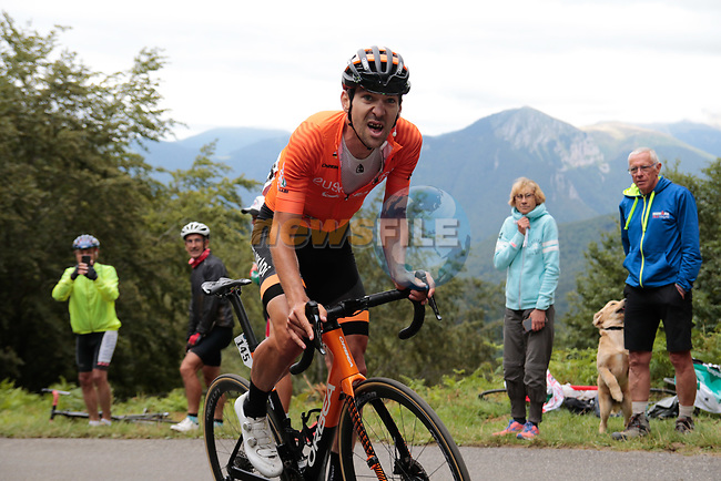 Mikel Iturria Segurola (ESP) Euskaltel-Euskadi rounds the final bend before the finish of Stage 3 of the Route d'Occitanie 2020, running 163.5km from Saint-Gaudens to Col de Beyrède, France. 3rd August 2020. <br /> Picture: Colin Flockton | Cyclefile<br /> <br /> All photos usage must carry mandatory copyright credit (© Cyclefile | Colin Flockton)