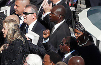 Il presidente dello Zimbabwe Robert Mugabe e sua moglie Grace alla cerimonia di beatificazione di Papa Paolo VI, celebrata da Papa Francesco in Piazza San Pietro, Citta' del Vaticano, 18 settembre 2014.<br /> Zimbabwe's President Robert Mugabe and his wife Grace attend the beatification ceremony of Pope Paul VI, celebrated by Pope Francis in St. Peter's Square at the Vatican, 18 October 2014.<br /> UPDATE IMAGES PRESS/Riccardo De Luca<br /> <br /> STRICTLY ONLY FOR EDITORIAL USE