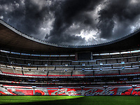 MEXICO CITY, MEXICO - AUGUST 15, 2012:  Azteca Stadium before the USA MNT and Mexico international friendly match at Azteca Stadium, in Mexico City, Mexico on August 15.