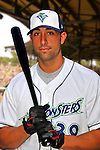 24 June 2008: Vermont Lake Monsters catcher Chris Solis. Baseball Card Image for 2008. For in-house use by the Vermont Lake Monsters Only. Editorial or other use of images by other publications or media outlets must secure licensing from the photographer Ed Wolfstein prior to publication, and is based on standards of circulation, and placement in a given publication...Mandatory Credit: Ed Wolfstein.