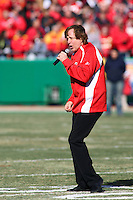 Singer Eddie Money performs the National Anthem before the Ravens vs Chiefs game at Arrowhead Stadium in Kansas City, Missouri on December 10, 2006. Baltimore won 20-10.