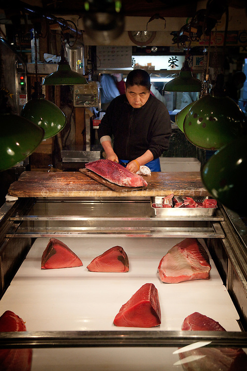 Tokyo, 1st of March 2010 - Tuna at Tsukiji wholesale fish market, biggest fish market in the world. 6:30 a.m, a middleman cuts the tunas in small pieces, to sell it on the market to the retailers.