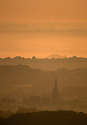 18/08/19<br /> <br /> Ahead of another hot day, dawn breaks over Chesterfield's famously wonky church spire in Derbyshire.<br /> <br /> All Rights Reserved: F Stop Press Ltd. +44(0)1335 418365   +44 (0)7765 242650 www.fstoppress.com