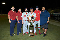 The Johnson City Cardinals field staff poses for a photo with the Appalachian League Championship trophy following their win over the Burlington Royals at Burlington Athletic Stadium on September 4, 2019 in Burlington, North Carolina. The Cardinals defeated the Royals 8-6 to win the 2019 Appalachian League Championship. (Brian Westerholt/Four Seam Images)