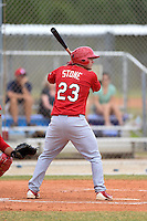 St. Louis Cardinals first baseman Jake Stone (23) during a minor league spring training intrasquad game on March 28, 2014 at the Roger Dean Stadium Complex in Jupiter, Florida.  (Mike Janes/Four Seam Images)