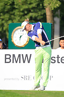 Marcel Siem (GER) tees off the 10th tee during Sunday's Final Round of the 2014 BMW Masters held at Lake Malaren, Shanghai, China. 2nd November 2014.<br /> Picture: Eoin Clarke www.golffile.ie