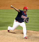 Memphis Redbirds pitcher Victor Marte #53 during a game versus the Round Rock Express at Autozone Park on April 28, 2011 in Memphis, Tennessee.  Memphis defeated Round Rock by the score of 6-5 in ten innings.  Photo By Mike Janes/Four Seam Images