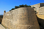 Moat and fortified city walls, Saint John bastion, Valletta, Malta