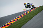 The rider Valentino Rossi and Jorge Lorenzo during the MotoGP race at the Grand Prix Sachsenring in Germany. 13/07/2014. Samuel de Roman / Photocall3000