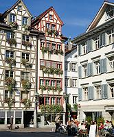 Schweiz, Kanton St. Gallen, St. Gallen: Schmiedgasse in der Altstadt | Switzerland, Canton St. Gallen, St. Gallen: lane 'Schmiedegasse' in old town