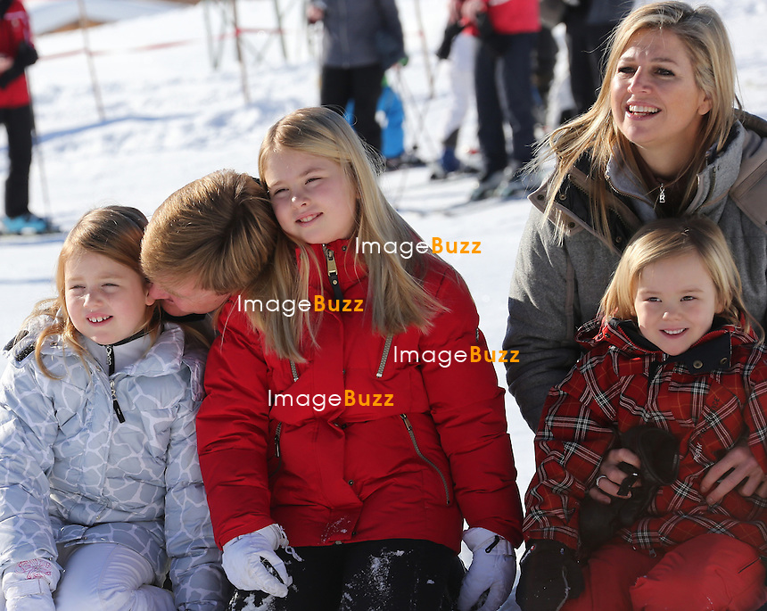 QUEEN BEATRIX, PRINCE OF ORANGE WILLEM-ALEXANDER WITH WIFE PRINCESS MAXIMA & THEIR 3 GIRLS  /February 18, 2013-Lech (Austria)-Prince of Orange Willem-Alexander, his wife Princess Maxima of Netherlands, their 3 girls Catharina-Amalia, Hereditary Princess of Orange, Princess Alexia and Princess Ariane with the Queen Beatrix of the Netherlands are together in Lech (Austria) their favourite holiday destination !.The princesses were happy to join their parents, Queen Beatrix arrived in Lech on Monday; her youngest son Constantijn and his wife Laurentien and their children are also in Lech. .The family enjoyed a sunny day and spent a lovely time together.
