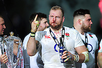 James Haskell of England celebrates after the match. RBS Six Nations match between France and England on March 19, 2016 at the Stade de France in Paris, France. Photo by: Patrick Khachfe / Onside Images