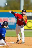 Wood Myers #5 of Jordan High School turns a double play at the 2012 South Atlantic Border Battle on November 3, 2012 in Burlington, North Carolina.  The Mets (SC13) defeated the Red Sox (NC 13) 3-2.  (Brian Westerholt/Four Seam Images)