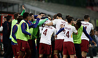 Calcio, Serie A: Milano, stadio Giuseppe Meazza (San Siro), 1 ottobre 2017.<br /> Roma's Edin Dzeko celebrates after scoring with his teammates during the Italian Serie A football match between Milan and AS Roma at Milan's Giuseppe Meazza (San Siro) stadium, October 1, 2017,<br /> UPDATE IMAGES PRESS/Isabella Bonotto