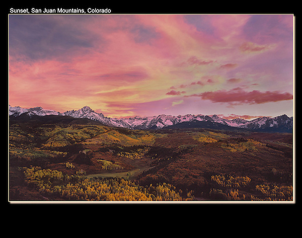 Sneffels Range at sunset in autumn, above Ridgeway.<br />