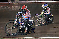 Heat 7: Stuart Robson (red) and Justin Sedgmen - Lakeside Hammers vs Peterborough Panthers - Sky Sports Elite League Speedway at Arena Essex Raceway, Purfleet - 14/09/12 - MANDATORY CREDIT: Gavin Ellis/TGSPHOTO - Self billing applies where appropriate - 0845 094 6026 - contact@tgsphoto.co.uk - NO UNPAID USE.