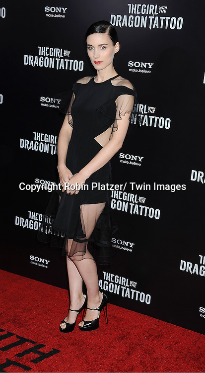 """Rooney Mara in black Prabal Gurung dress attends the New York Premiere of """"The Girl With The Dragon Tattoo"""" on December 14, 2011 at The Ziegfeld Theatre in New York City. The movie stars Daniel Craig, ..Rooney Mara, Christopher Plummer, Stellan Skarsgard, Robin Wright and Joely Richardson."""
