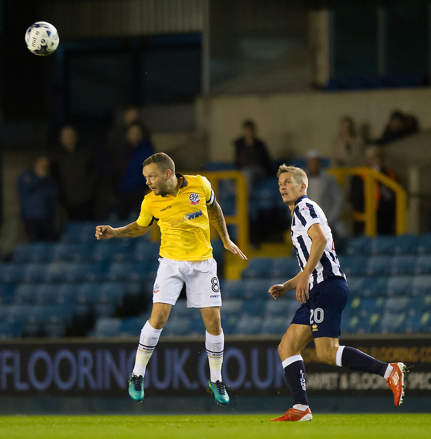 Bolton Wanderers' Jay Spearing in action during todays match  <br /> <br /> Photographer Ashley Western/CameraSport<br /> <br /> The EFL Sky Bet League One - Millwall v Bolton Wanderers  - Tuesday 18th October 2016 - The Den - London<br /> <br /> World Copyright &copy; 2016 CameraSport. All rights reserved. 43 Linden Ave. Countesthorpe. Leicester. England. LE8 5PG - Tel: +44 (0) 116 277 4147 - admin@camerasport.com - www.camerasport.com