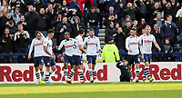 Preston North End's Tom Barkhuizen (right) celebrates with team-mates after scoring his side's third goal <br /> <br /> Photographer Rich Linley/CameraSport<br /> <br /> The EFL Sky Bet Championship - Preston North End v Blackburn Rovers - Saturday 26th October 2019 - Deepdale Stadium - Preston<br /> <br /> World Copyright © 2019 CameraSport. All rights reserved. 43 Linden Ave. Countesthorpe. Leicester. England. LE8 5PG - Tel: +44 (0) 116 277 4147 - admin@camerasport.com - www.camerasport.com