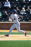 Kyle Adams (4) of the Richmond Spiders follows through on his swing against the Wake Forest Demon Deacons at David F. Couch Ballpark on March 6, 2016 in Winston-Salem, North Carolina.  The Demon Deacons defeated the Spiders 17-4.  (Brian Westerholt/Four Seam Images)