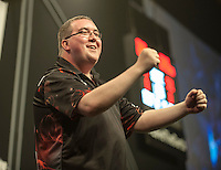 09.04.2015. Sheffield, England. Betway Premier League Darts. Matchday 10.  Stephen Bunting [ENG] interacts with the crowd before his game with Michael van Gerwen [NED]