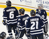 Trevor van Riemsdyk (UNH - 6), Matt Willows (UNH - 9), Nick Sorkin (UNH - 21), Jeff Wyer (UNH - 35) - The Boston College Eagles defeated the visiting University of New Hampshire Wildcats 6-2 on Friday, December 6, 2013, at Kelley Rink in Conte Forum in Chestnut Hill, Massachusetts.