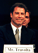 Actor John Travolta testifies before the Commission on Security and Cooperation in Europe, Regarding Discrimination Against Religious Minorities in Germany in Washington, D.C. on September 18, 1997.  Travolta is a member of the Church of Scientology, whose members have encountered religious discrimination in Germany..Credit: Ron Sachs / CNP