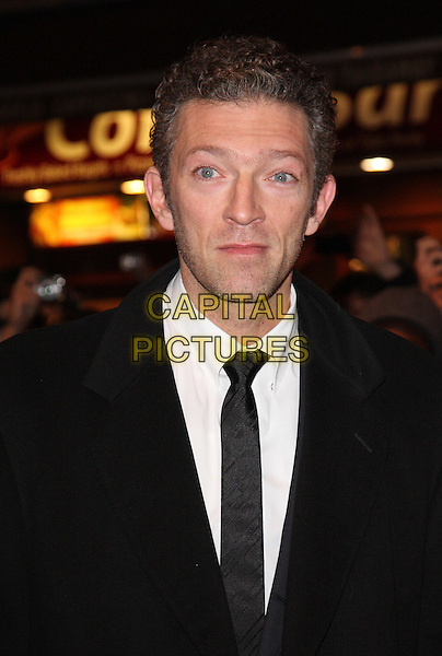 "VINCENT CASSEL.54th BFI London Film Festival Jameson Gala screening of ""Black Swan"" at the Vue West End, Leicester Square, London, England, UK,.October 22nd 2010..portrait headshot black suit tie white shirt mouth open funny .CAP/ROS.©Steve Ross/Capital Pictures"