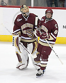 Cory Schneider 1 of Boston College and Tim Filangieri 5 of Boston College watch the replay of Gerbe's goal. The Boston College Eagles defeated the University of Wisconsin Badgers 3-0 on Friday, October 27, 2006, at the Kohl Center in Madison, Wisconsin in their first meeting since the 2006 Frozen Four Final which Wisconsin won 2-1 to take the national championship.<br />