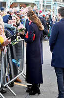 04/02/2020 - Prince William Duke of Cambridge and Kate Middleton, Duchess of Cambridge during a visit to the RNLI Mumbles Lifeboat Station, near Swansea in south Wales. Photo Credit: ALPR/AdMedia