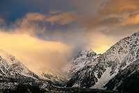 Sunrise in the Southern Alps of New Zealand. At 3754 meters, Aoraki Mount Cook is New Zealand's tallest peak.