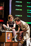 REASONS TO BE CHEERFUL by Sirett;<br /> Beth Hinton-Lever as Janine;<br /> Joey Hickman as Cousin Joey - keyboards;<br /> Directed by Sealey;<br /> Associate director: Beeton;<br /> Writer: Sirett;<br /> Designer: Ashcroft;<br /> Assistant designer: Charlesworth;<br /> Lighting designer: Scott;<br /> Sound designer: Gibson;<br /> Musical director: Hickman;<br /> Choreographer: Smith;<br /> Video designer: Haig;<br /> Projection design: Mclean; <br /> Music supervisor and Arrangements: Hyman;<br /> Voice coach: Holt; Casting: Hughes CDG<br /> BSL consultant: Jackson<br /> Audio description consultant: Oshodi<br /> Graeae Theatre Company;<br /> at The Belgrade Theatre, Coventry, UK;<br /> 8 September 2017;<br /> Credit: Patrick Baldwin;
