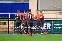 Pictured: Josh Thomas of Swansea City u19's celebrates scoring the opening goal during the FAW youth cup final between Swansea City and The New Saints at Park Avenue in Aberystwyth Town, Wales, UK.<br /> Wednesday 17 April 2019