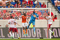New York Red Bulls goalkeeper Luis Robles (31) punches a ball clear. The New York Red Bulls defeated the Houston Dynamo 2-0 during a Major League Soccer (MLS) match at Red Bull Arena in Harrison, NJ, on June 30, 2013.