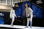 25 MAR 2016:  Columbia's Jackie Dubrovich reacts to an official's ruling during her semifinal women's foil match with Ohio State's Alanna Goldie at the Division I Women's Fencing Championship is held at the Gosman Sports and Convention Center in Waltham, MA.   Damian Strohmeyer/NCAA Photos