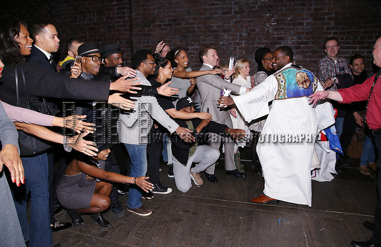 Arbender Robinson with Billy Porter and cast during the Actors' Equity Opening Night Gypsy Robe Ceremony honoring Arbender Robinson for 'Shuffle Along' at The Music Box Theatre on April 28, 2016 in New York City.